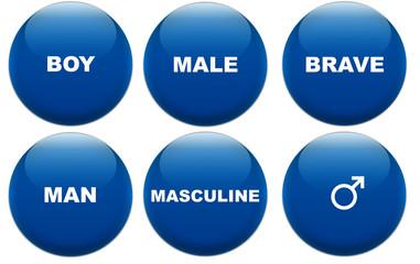 Masculine concept glass buttons