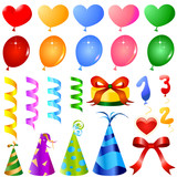 party objects great set vector poster