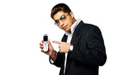 Man in Suit Holding Mobile Phone wearing sunglasses