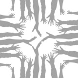party hand silhouettes made from lines