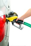 Closeup refuel gasoline in gas-station on white background poster