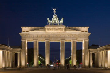 Brandenburg Gate in Berlin illuminated after dusk