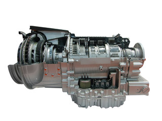 truck engine transmission part isolated
