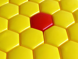 pattern from yellow and red hexagons poster