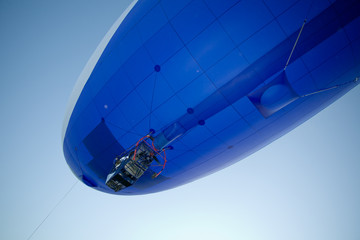flying blimp close-up