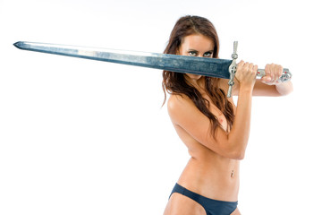 The girl topless with an a sword on a white background