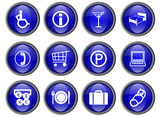 Tourism buttons (blue) poster