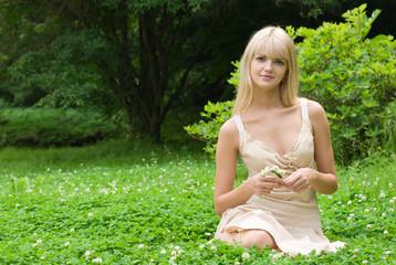 girl with clover diadem