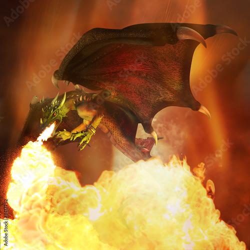 Fiery dragon. 3D render.