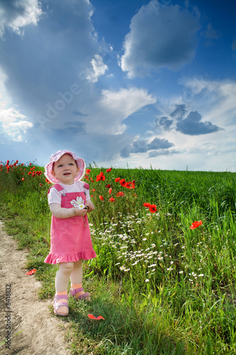 canvas print picture Girl with poppies