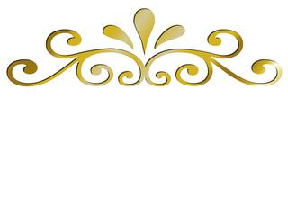 Ornement doré sur fond blanc
