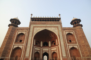 Main entrance of Taj Mahal complex. Agra, India.