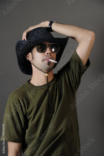 Trendy guy smoking