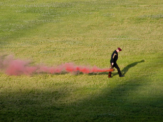 Military man with red smoke 20080607-1200229