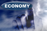 hand and button with word of ECONOMY poster