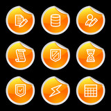 Database icons, orange circle sticker series poster
