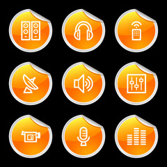 Media icons, orange circle sticker series