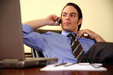 Young businessman sitting at desk and talking on cell phone
