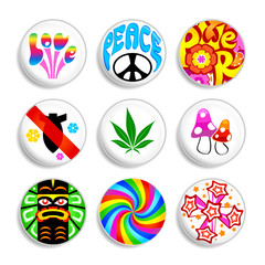 Set of artistic hippie badges with 60s spirit inside.