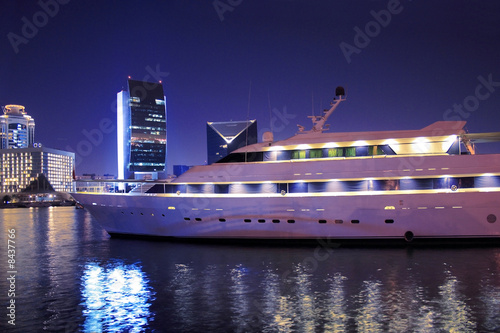 Luxury yacht in Dubai Creek, United Arab Emirates