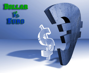 Dollar - euro currency concept
