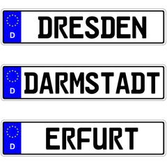 Dresden, Darmstadt, Erfurt - Autokennzeichen