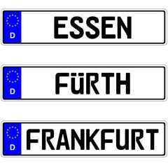 Essen, Fürth, Frankfurt - Autokennzeichen