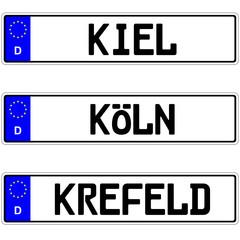 Kiel, Köln, Krefeld - Kennzeichen