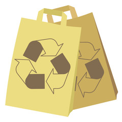 shopping paper bag with nature preservation symbol