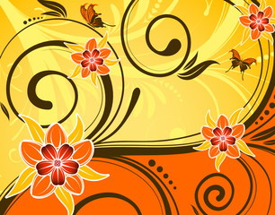 Flower background with butterfly and wave pattern, vector