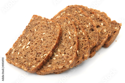 wholegrain bread slices on white background