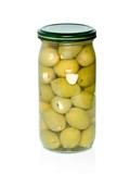 Olives with garlic conserved in glass jar poster