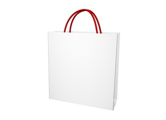 blank white shopping bag over a white background