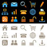 Web icons. Multicolor & monochrome series poster