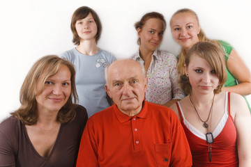 family - grandfather, his daughter and four granddaughters
