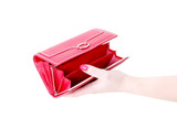 hand with empty purse feminine red 3 poster
