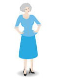 Older business woman standing posed wearing suit  - Vector