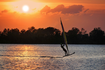 Windsurfer During Sunset