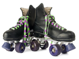 Retro roller skates isolated on white background