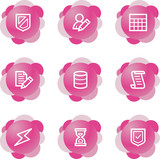 Database icons, pink flower series poster