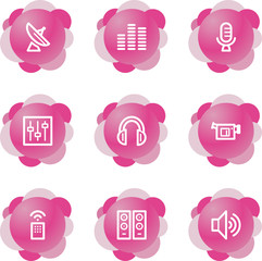 Media icons, pink flower series