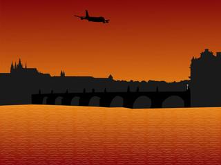 plane arriving in Prague
