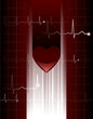 Stylized vector heart and ekg hologram