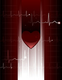 Stylized vector heart and ekg hologram poster