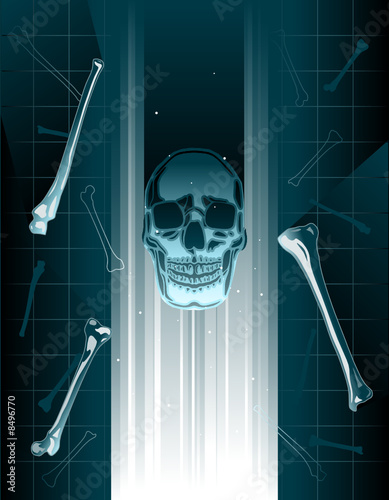 Stylized vector skull and bones xray or hologram