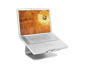 Laptop with golden star on screen