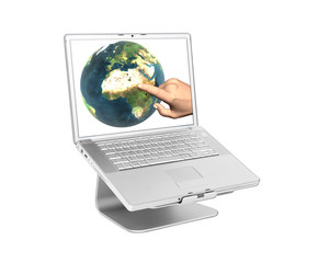 Laptop with earth on screen