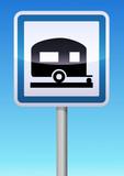 Panneau de signalisation camping caravane poster