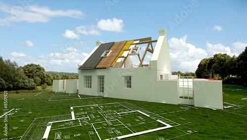 Tableau maison construction 01 posters et tableaux sur toile - Tableau construction maison ...