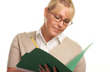 Intelligent Beautiful Woman with Pencil and Folder poster